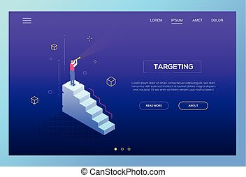 Targeting concept - modern isometric vector web banner