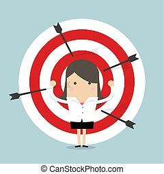 targets., femme affaires, tir arc