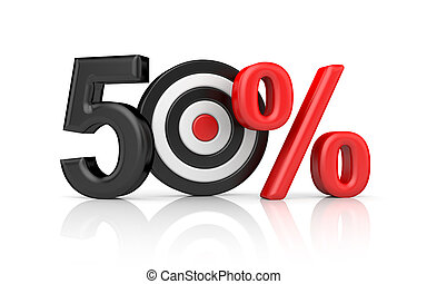 Targets form the number 50 percent. Accurate shot metaphors. 3d illustration