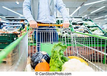 targonca, övé, bevásárlás, növényi, rámenős, élelmiszer áruház, ember