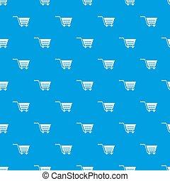 targonca, kék, bevásárlás, motívum, seamless, műanyag