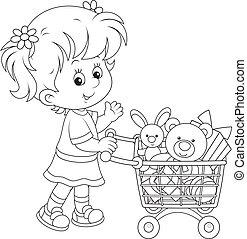 targonca, leány, játékszer, bevásárlás