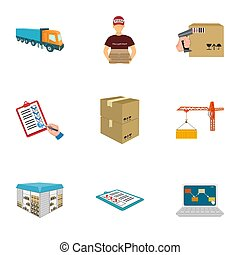 targonca, teherárú sima, ingóságok, okmányok, és, más, részlet, alatt, a, felszabadítás, és, transportation., logisztika, és, felszabadítás, állhatatos, gyűjtés, ikonok, alatt, karikatúra, mód, isometric, bitmap, jelkép, állandó ábra, web.