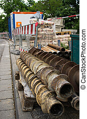 tarière, construction, forets, site