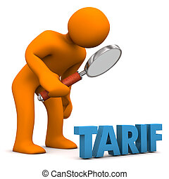 Tariff Check - Orange cartoon character with loupe and blue...