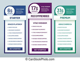 Tariff plans comparison. Recommended tariffs, price list banners and prices plan template vector illustration