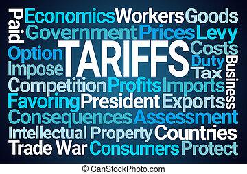 tariffs, woord, wolk