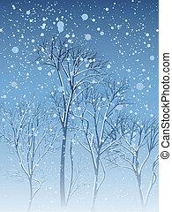 tarjeta, árboles., invierno, nevada