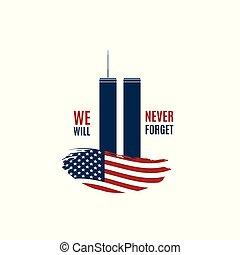 tarjeta, 9/11, gemelo, forget., nosotros, frase, norteamericano, voluntad, día, patriota, nunca, bandera, torres