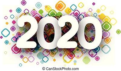tarjeta, año, nuevo, 2020, colorido, redondeado, confetti., ...
