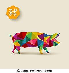 tarjeta, año, nuevo, poly, 2019, bajo, colorido, chino, cerdo