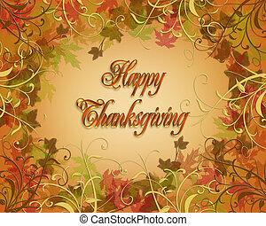 tarjeta, acción de gracias, feliz