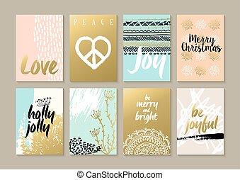 tarjeta, alegre, hippie, navidad, hipster, retro, conjunto, ...