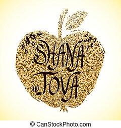 tarjeta, apple., rosh hashanah, saludo