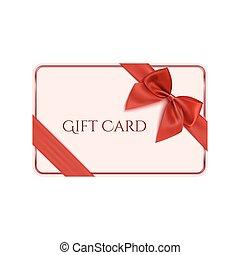 tarjeta, arco obsequio, cinta, plantilla, rojo