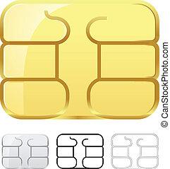 tarjeta, astilla, blanco, aislado, sim