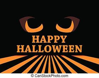 tarjeta, asustadizo, octubre, feriado, alumnos, halloween, saludo, ilustración, vector, 31st., mal, ojos negros, rays., feliz