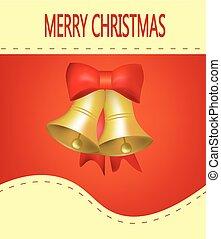 tarjeta, campanas, plano de fondo, rojo, navidad