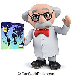 tarjeta, carácter, tenencia, científico, enojado, credito, ...