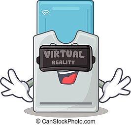 tarjeta clave, auriculares, carácter, virtual, moderno,...