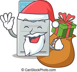 tarjeta clave, caja, carácter, regalo, diseño, santa,...