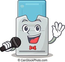 tarjeta clave, canto, feliz, micrófono