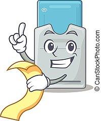 tarjeta clave, carácter, divertido, menú, caricatura