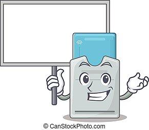 tarjeta clave, carácter, traer, imagen, caricatura, tabla,...