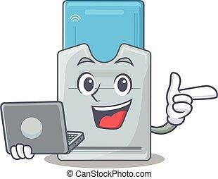 tarjeta clave, computador portatil, carácter, trabajando,...