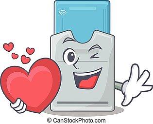 tarjeta clave, corazón, carácter, tenencia, divertido,...