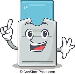 tarjeta clave, dedo, mascota, carácter, estilo, uno,...