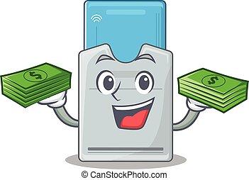 tarjeta clave, dinero, carácter, manos, feliz, rico