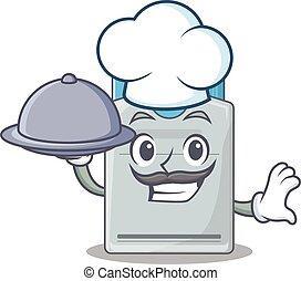tarjeta clave, diseño, chef, caricatura, bandeja del...