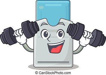 tarjeta clave, ejercicio, condición física, barbells,...