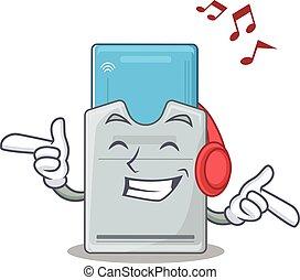 tarjeta clave, escuchar, mascota, carácter, diseño, música,...