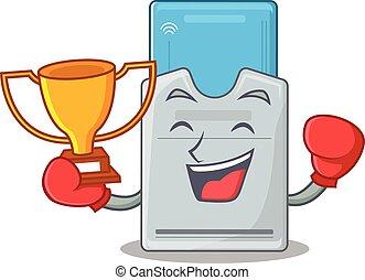 tarjeta clave, ganador, boxeo, mascota, fantástico, estilo,...