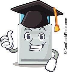 tarjeta clave, graduación, sombrero, feliz, orgulloso, negro...