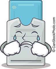 tarjeta clave, mascota, estilo, triste, caricatura