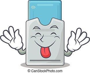 tarjeta clave, mascota, lengua, estilo, caricatura, lindo,...