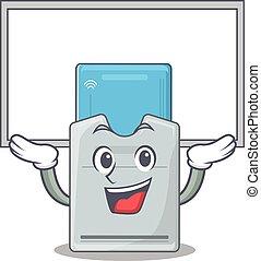 tarjeta clave, mascota, levantado, imagen, arriba, tabla