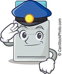 tarjeta clave, mascota, realizado, oficial, policía,...