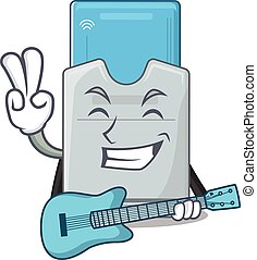 tarjeta clave, mascota, rendimiento, guitarra