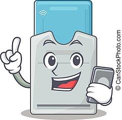 tarjeta clave, teléfono, diseño, caricatura, oratoria