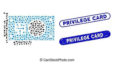 tarjeta, collage, elipse, gpu, acelerador, privilegio, textured, sellos