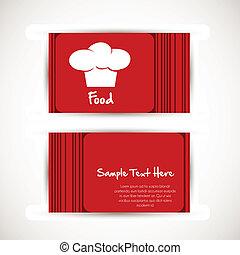 tarjeta comercial, con, el sombrero de chef