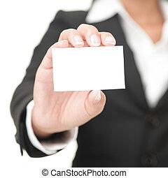tarjeta comercial, -, mujer de negocios, tenencia, muestra...