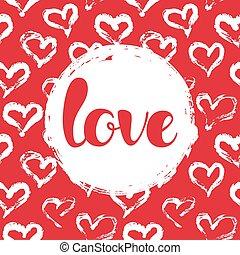 tarjeta, con, corazones, y, amor, letras