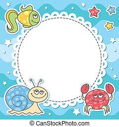 tarjeta, con, criaturas mar
