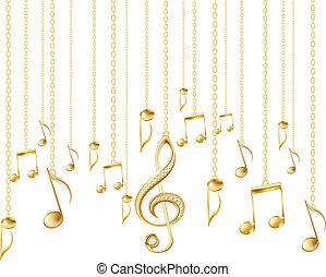 tarjeta, con, notas musicales, y, dorado, clave de sol