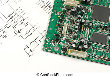 tarjeta de circuito impreso, y, electrónico, esquema